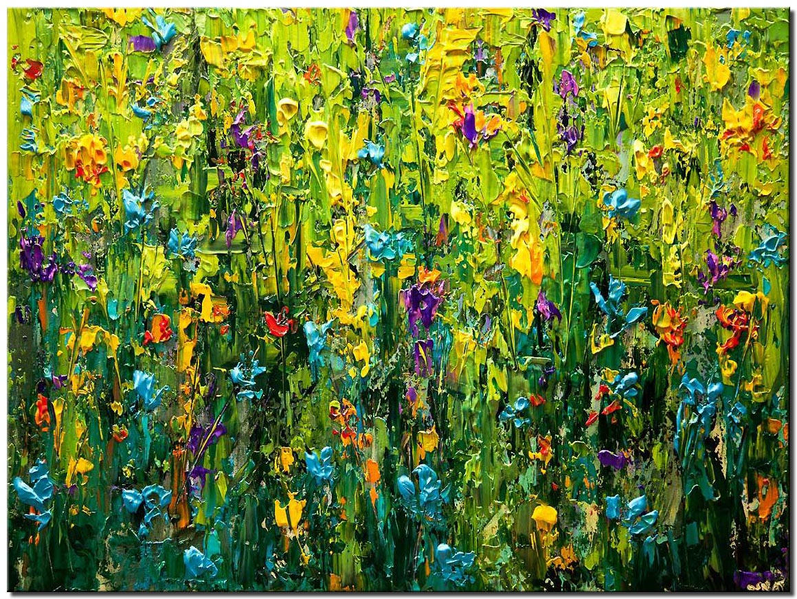canvas print of modern textured  blooming flowers clorful painting