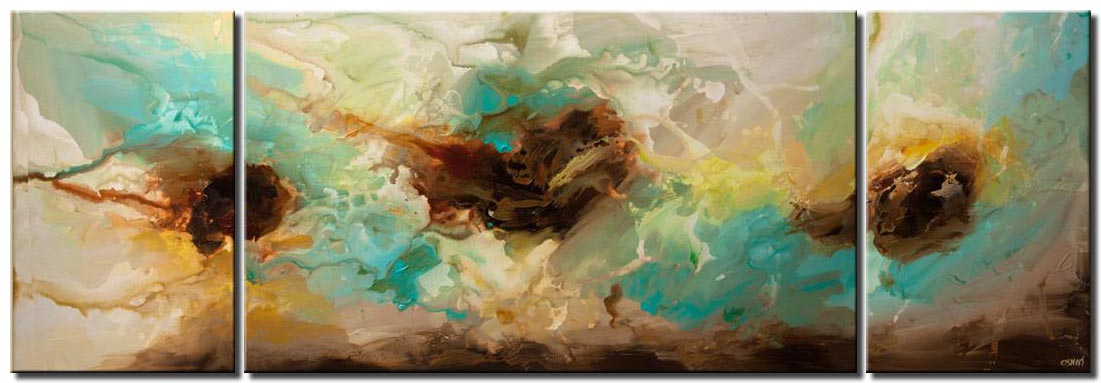 huge contemporary turquoise abstract art