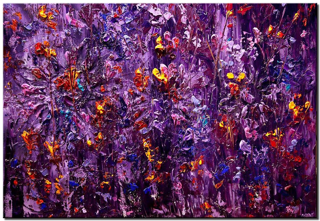 purple blooming flowers heavy textured abstract painting