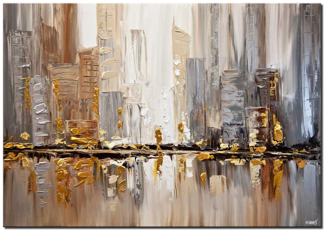 original gold silver cityscape painting modern palette knife