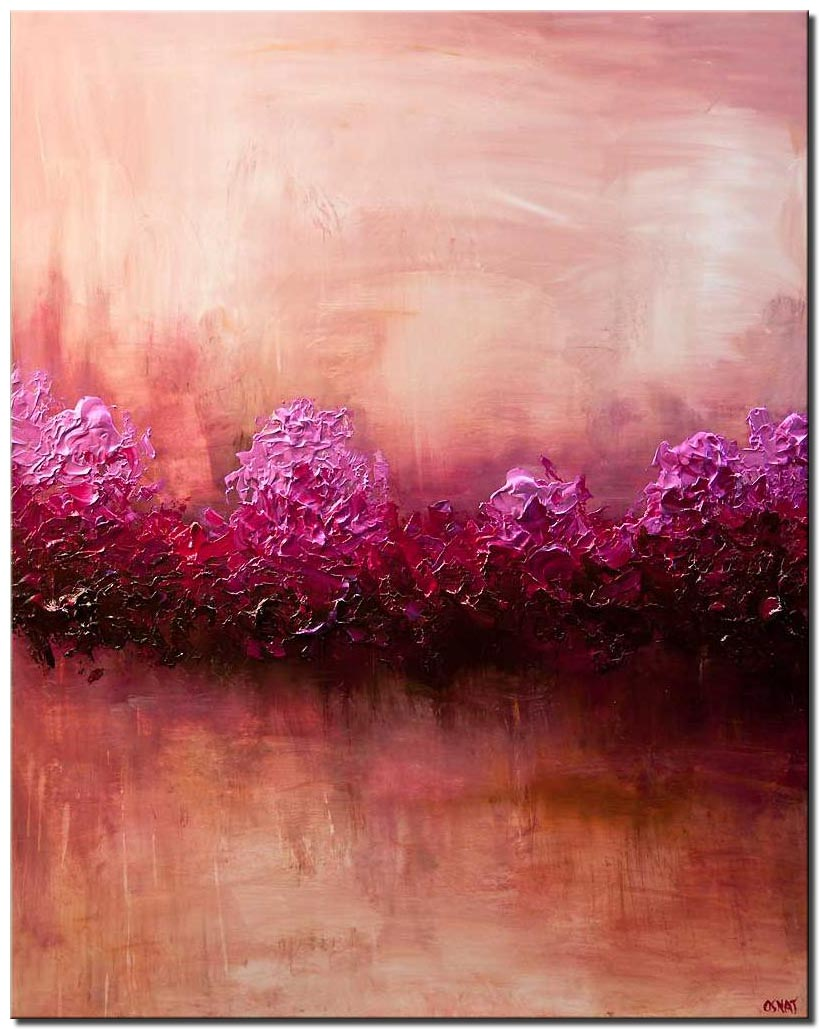 large modern pink abstract art home decor