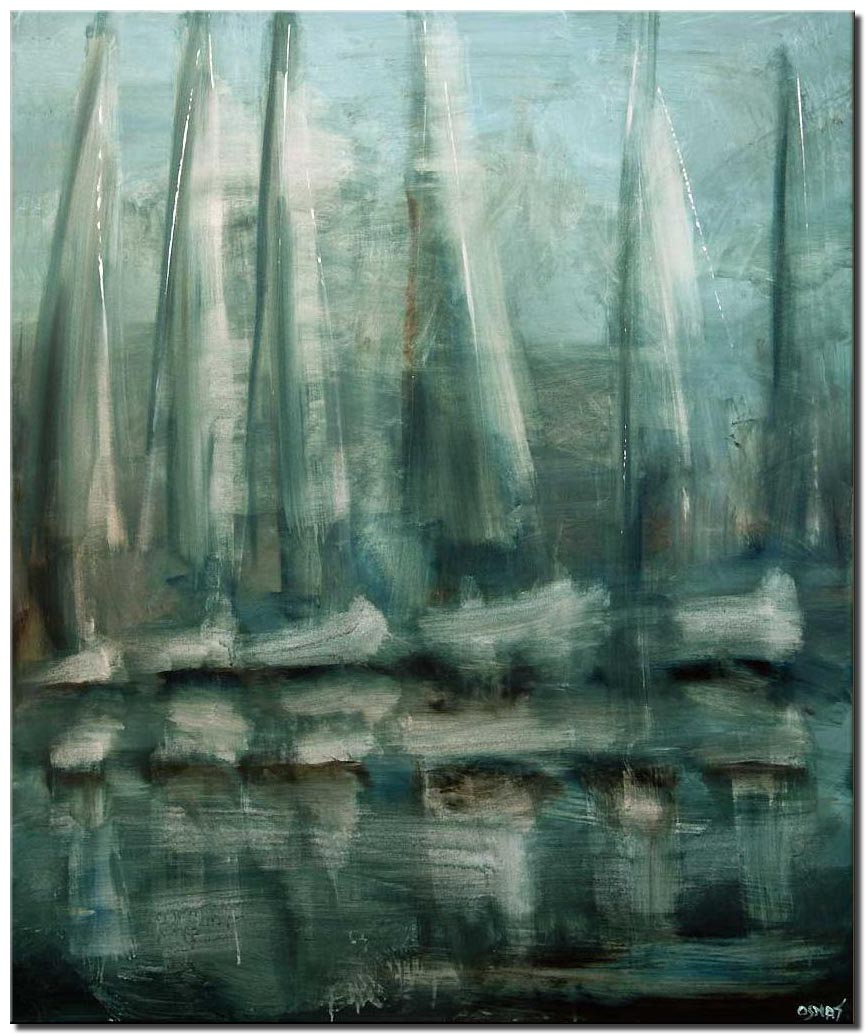canvas print of contemporary modern sailboats abstract painting blue