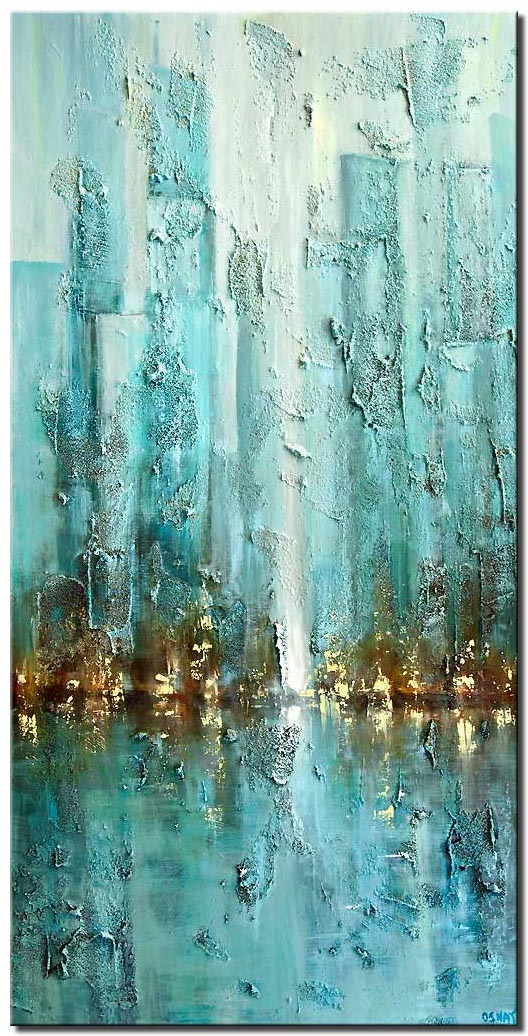 canvas print of contemporary city painting modern palette knife blue abstract city