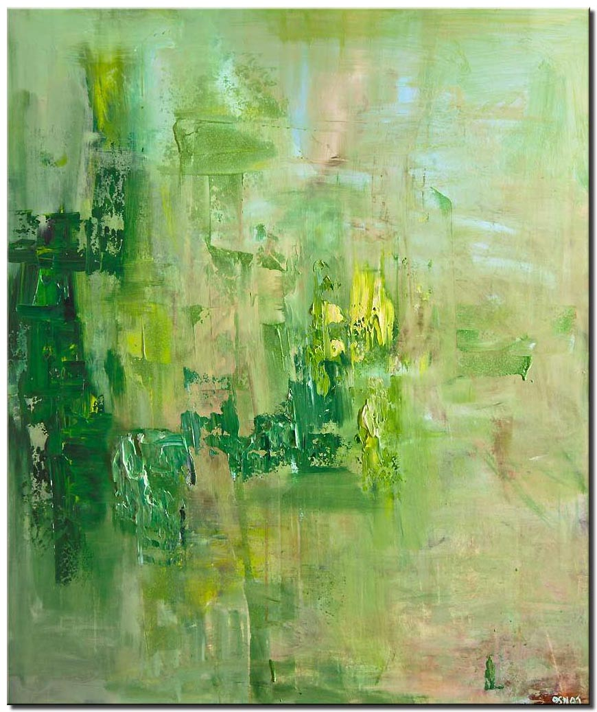 green modern textured abstract art home decor