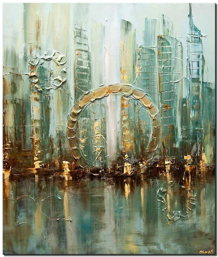 original abstract city modern palette knife