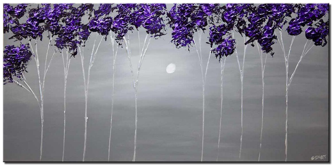 purple lavender blooming trees painting heavy texture