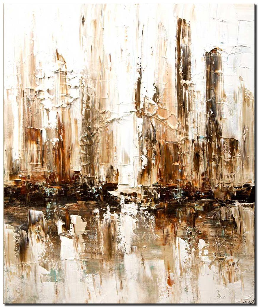 white abstract city home decor