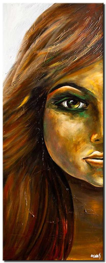 canvas print of modern woman portrait palette knife painting