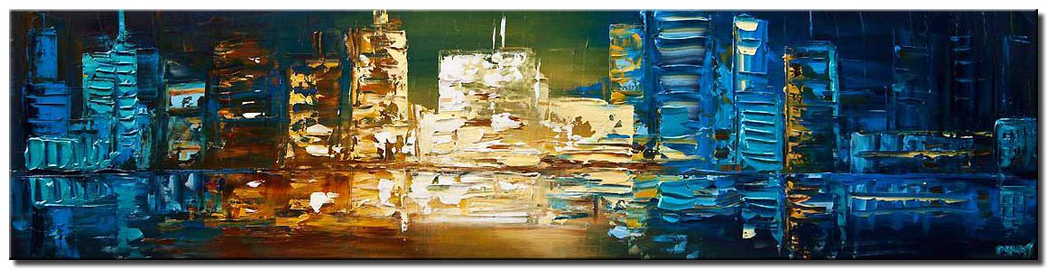 modern palette knife blue city abstract painting