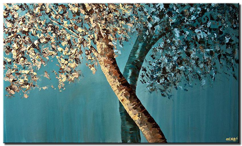 canvas print of blooming trees blossom blue brown