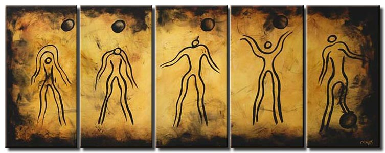canvas print of abstract painting of human evolution multi panel