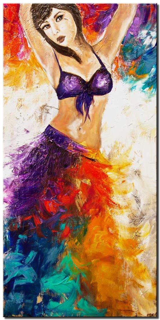 canvas print of colorful textured belly dancer painting