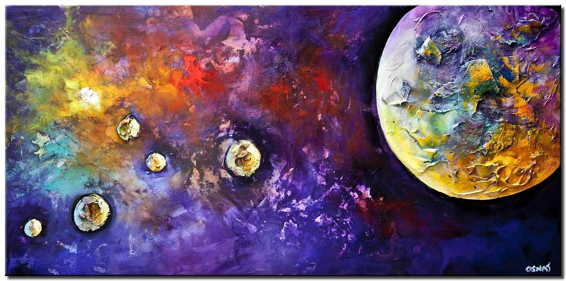 canvas print of planets abstract painting textured