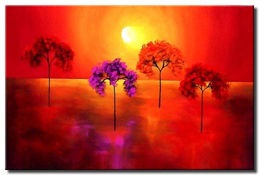 four trees and glowing sun