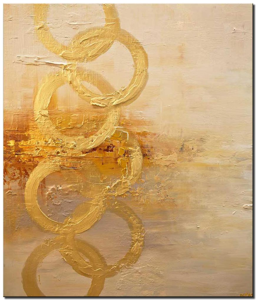 contemporary textured golden abstract art