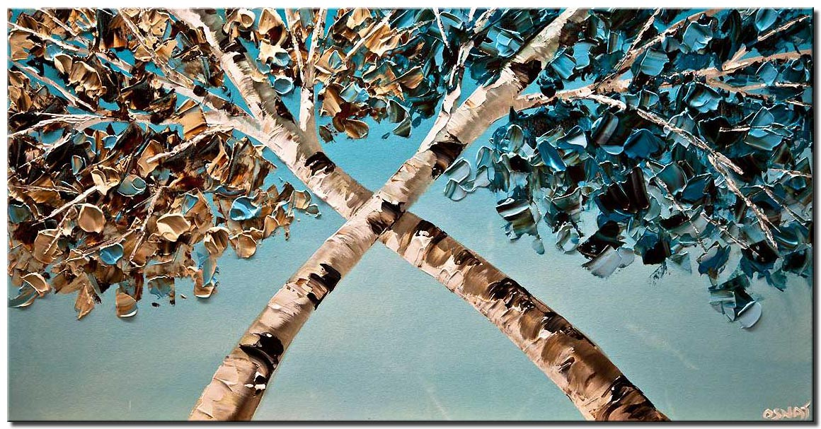 modern palette knife blooming birch trees painting