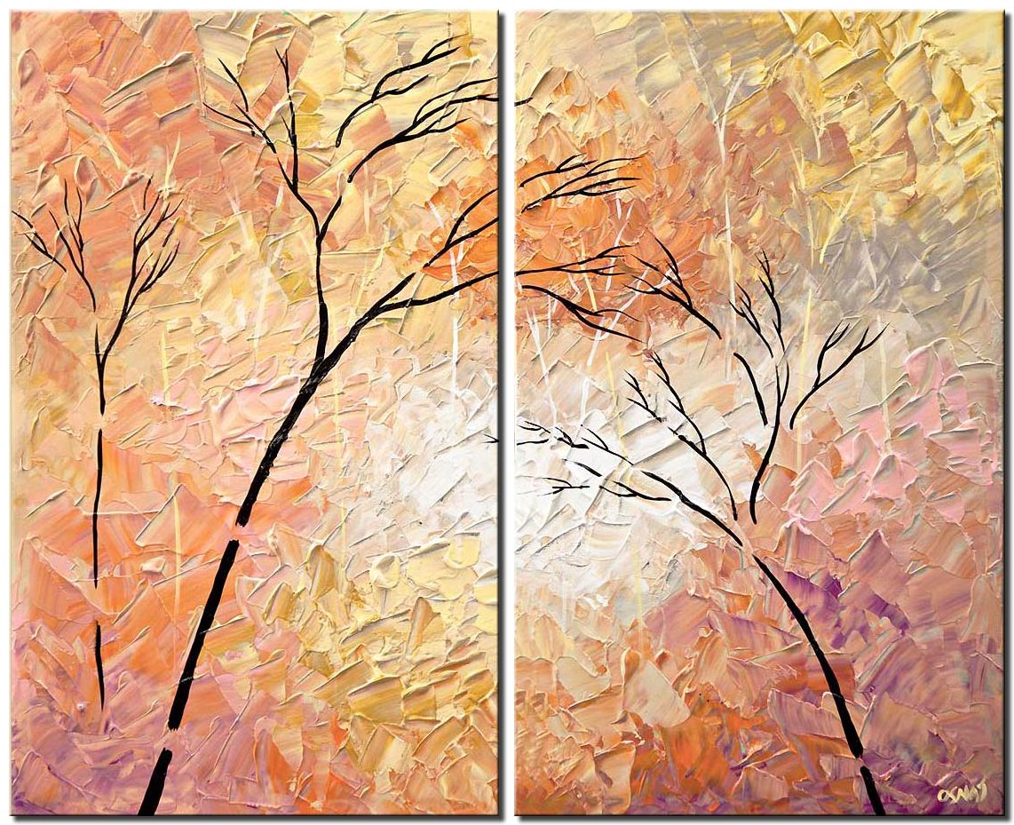 canvas print of modern palette knife landscape tree painting