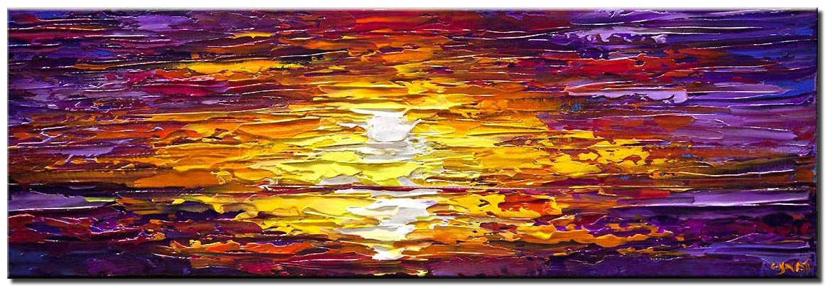 canvas print of modern textured sunset palette knife painting