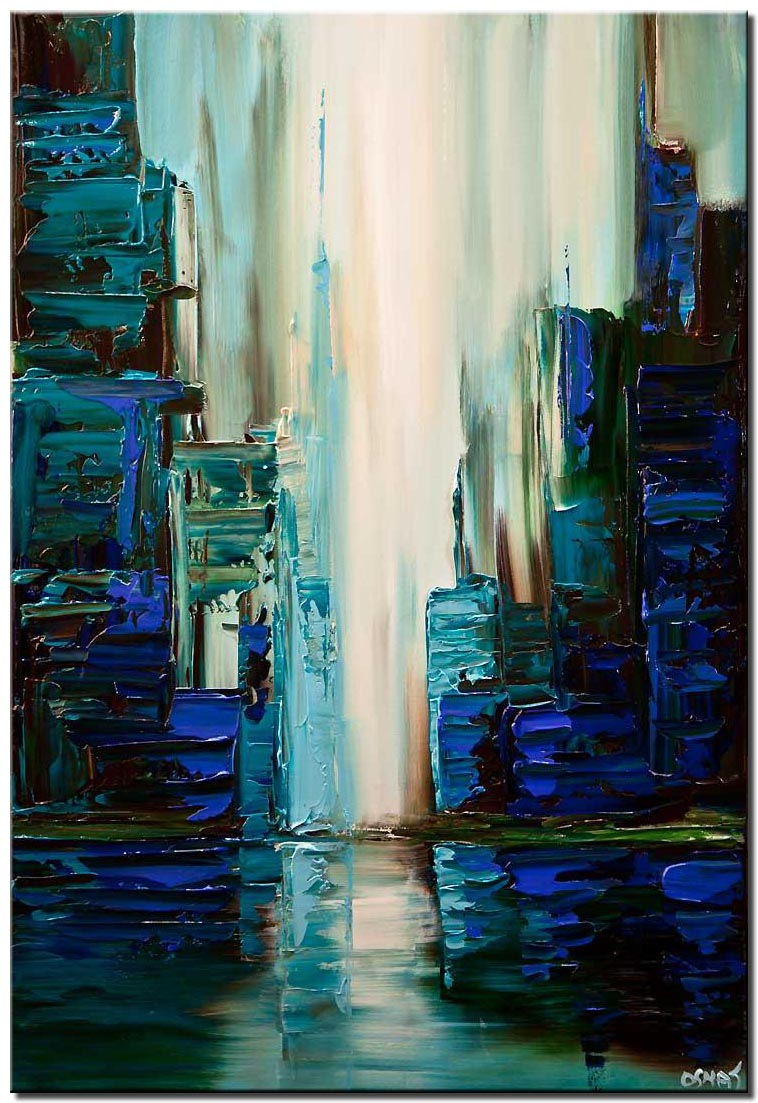 canvas print of blue green city abstract painting textured cityscape painting