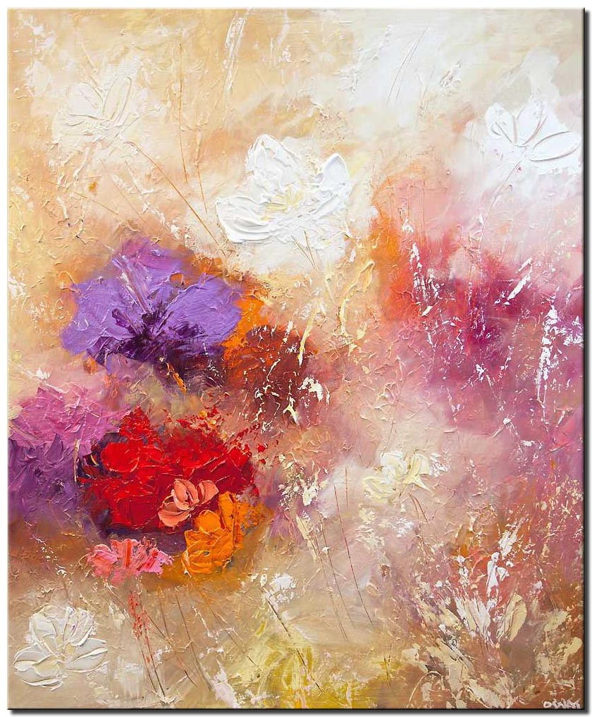 modern floral painting textured palette knife abstract art
