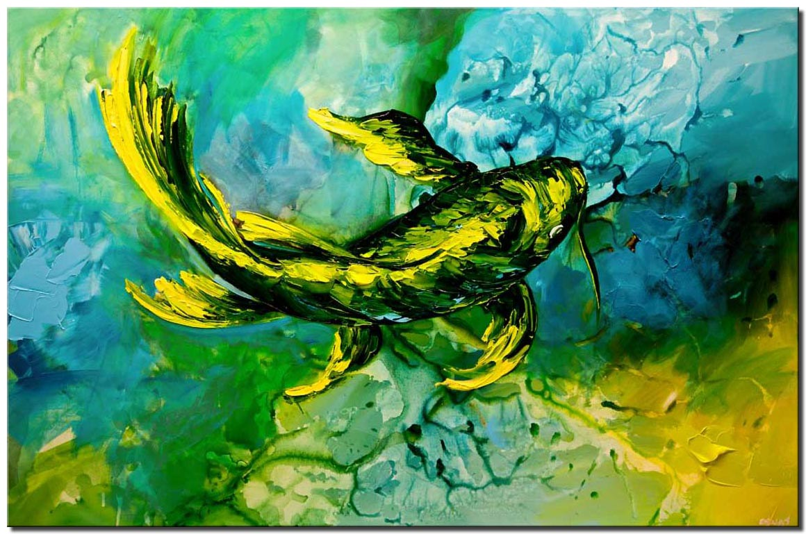 canvas print of green yellow koi fish painting