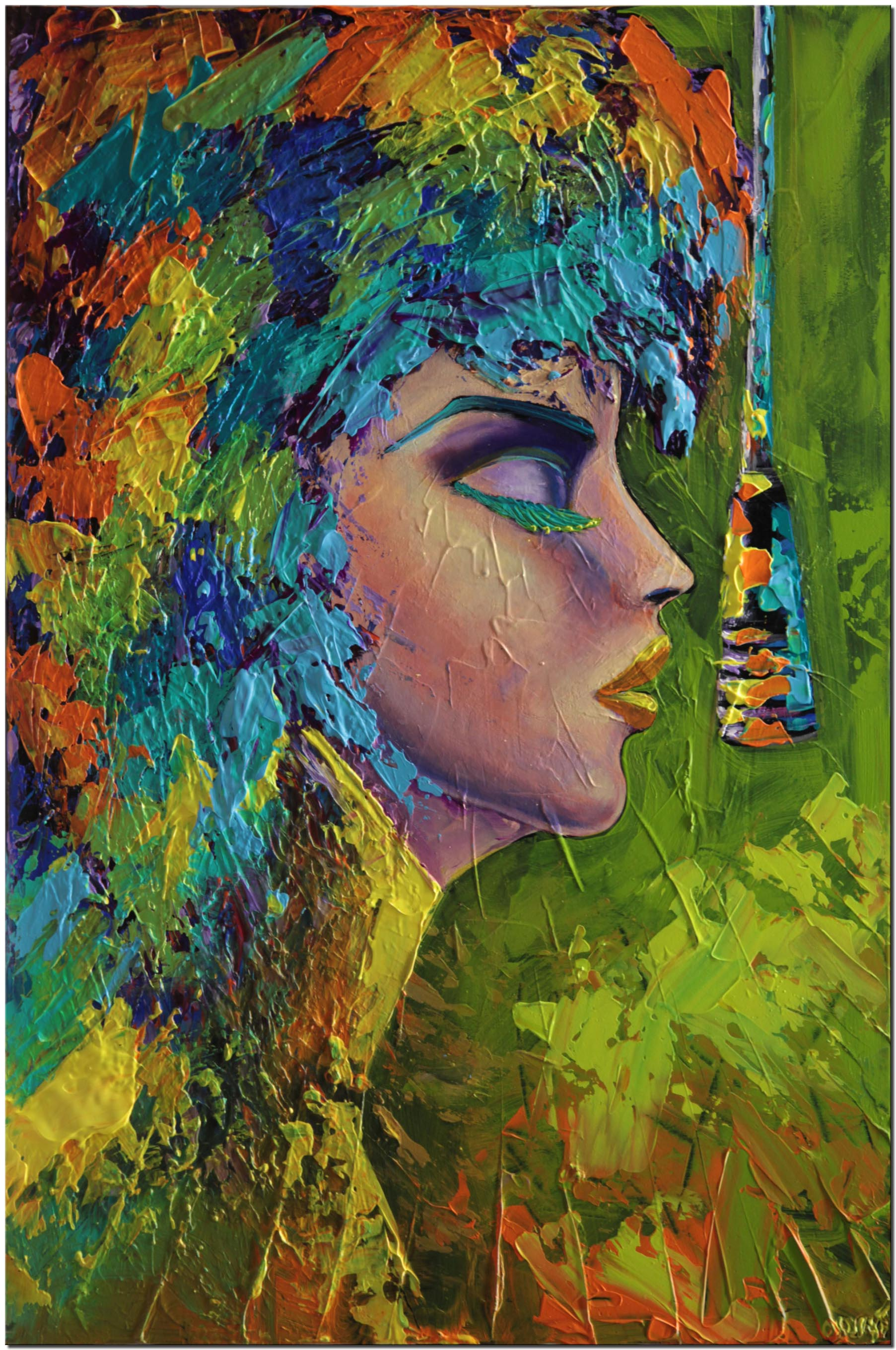 canvas print of rock and roll painting colorful portrait painting modern palette knife painting