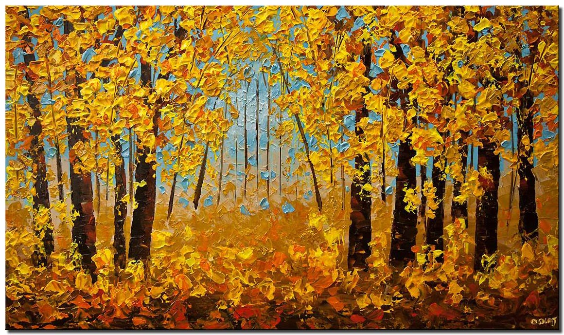 canvas print of indian summer painting modern texture landscape trees painting