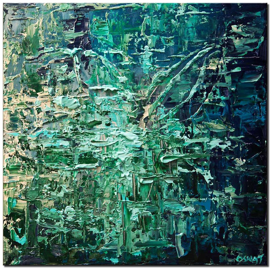 canvas print of blue green textured abstract painting