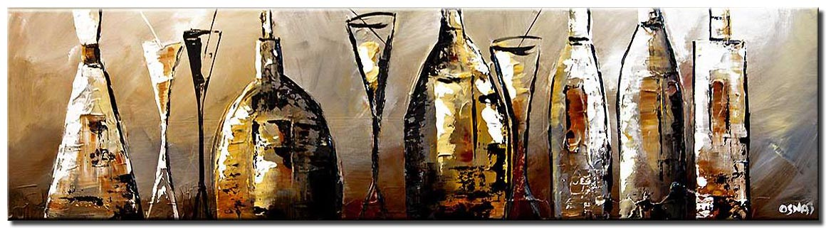canvas print of Liquor wine bottles resturant painting