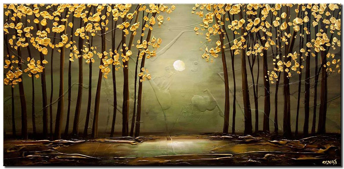 green forest golden leaves painting textured landscape art