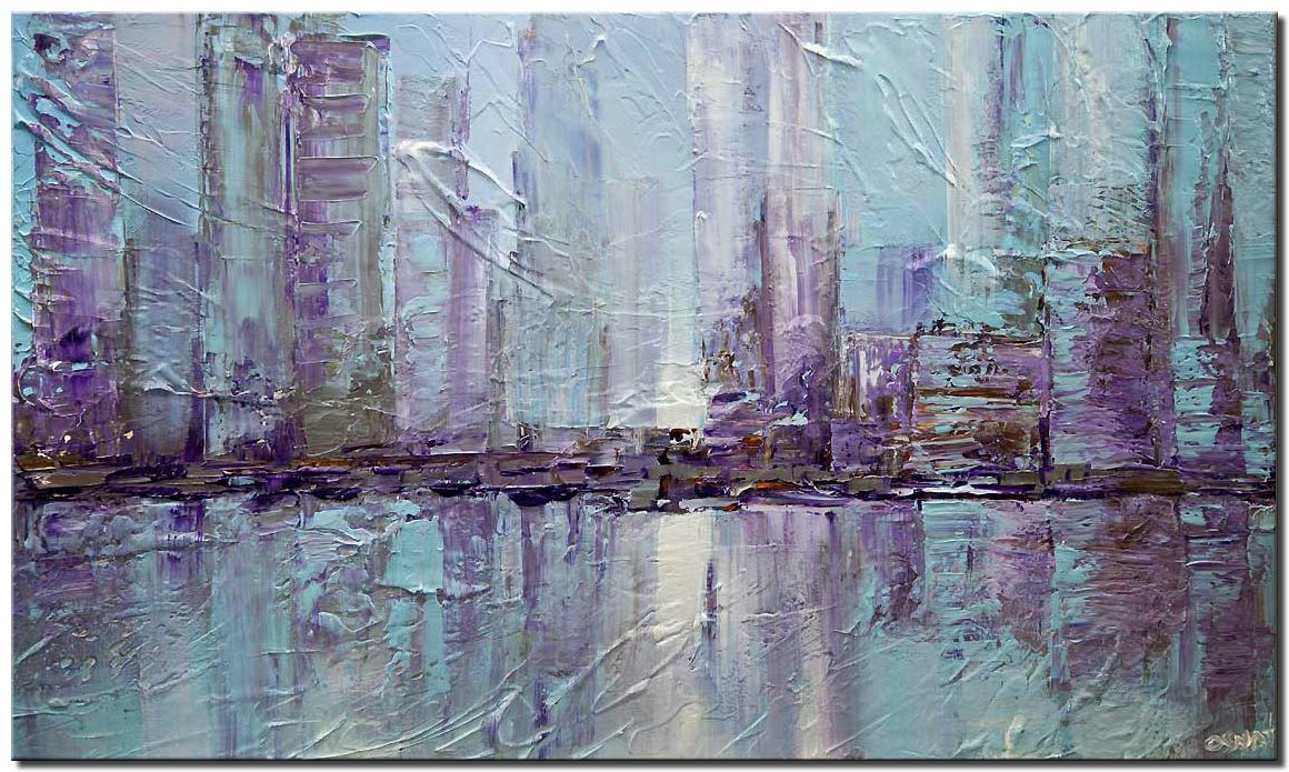 canvas print of New York city textured abstract city painting