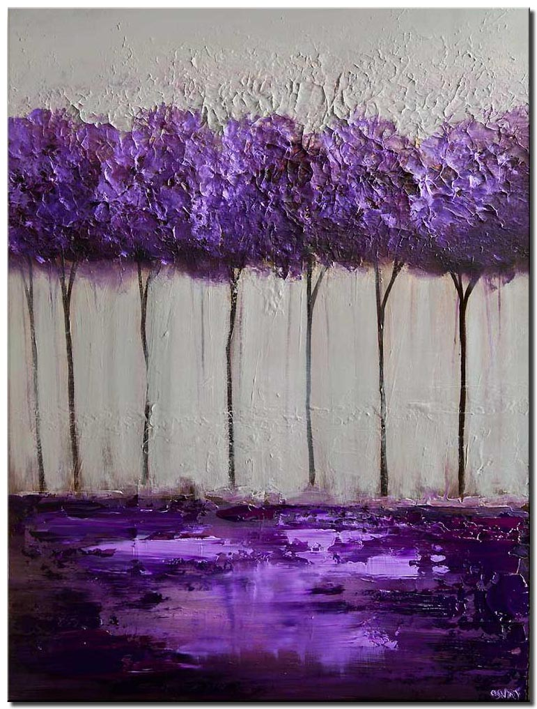 canvas print of purple gray blooming tree painting