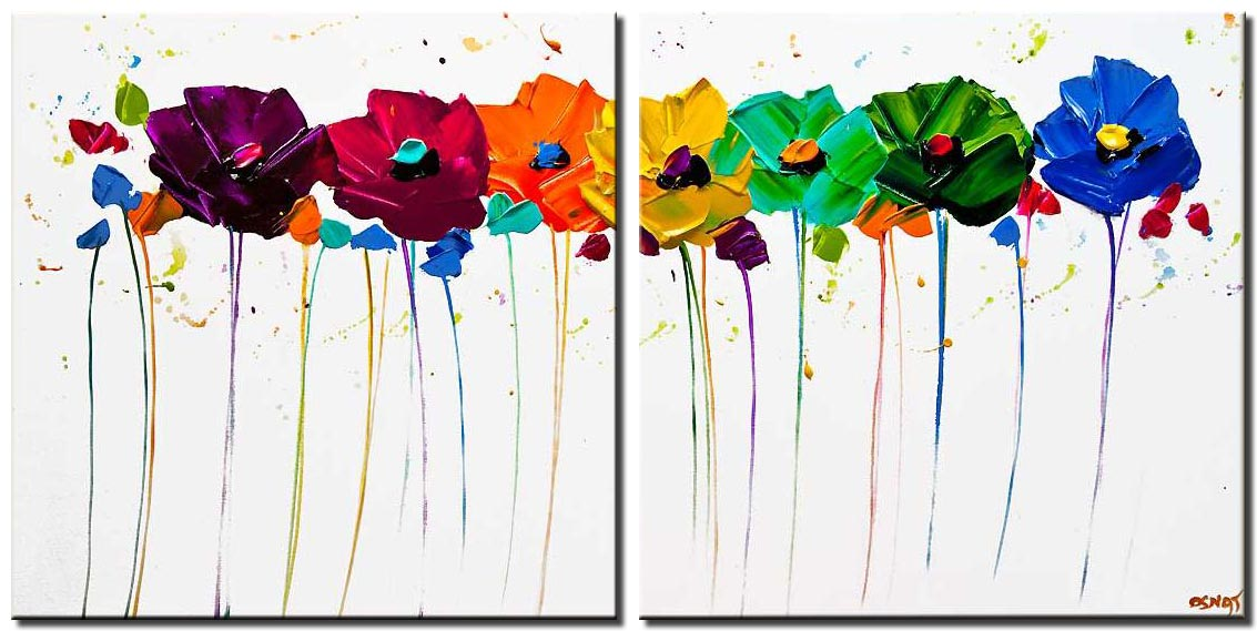 canvas print of colorful flowers white background textured painting