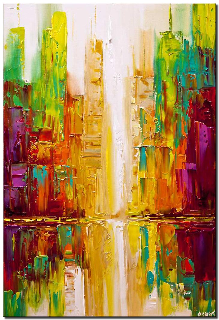 canvas print of colorful city abstract painting textured