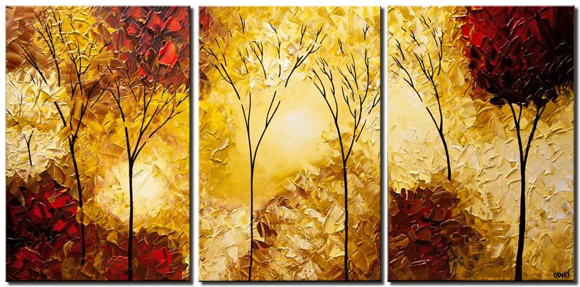 canvas print of modern landscape trees painting palette knife