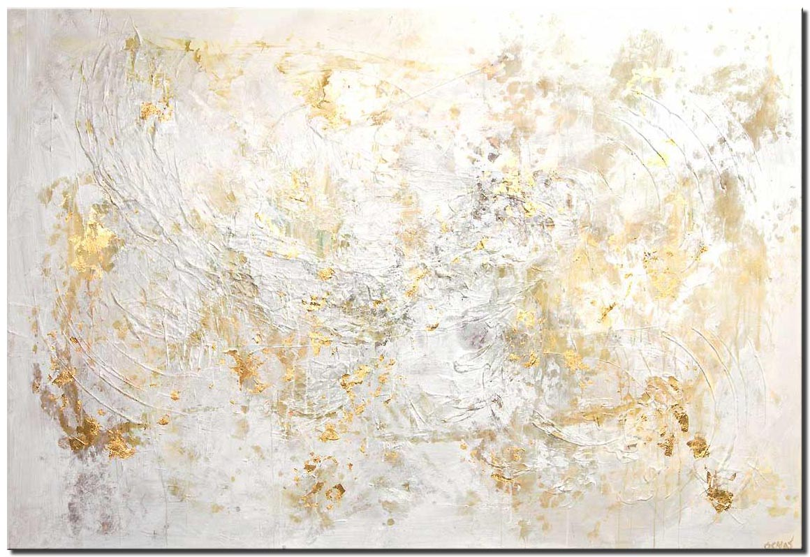large modern white textured abstract painting