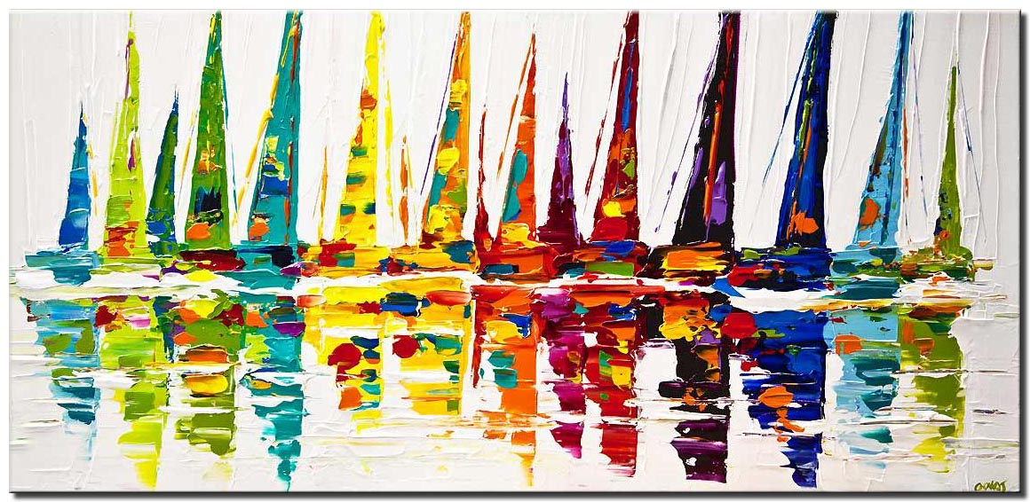 colorful sailboats painting