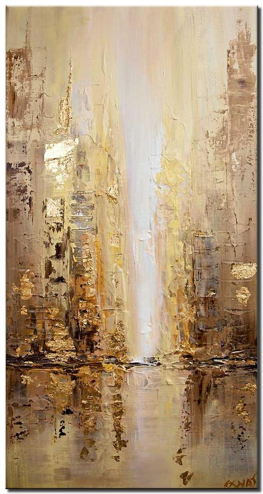 canvas print of golden abstract city painting