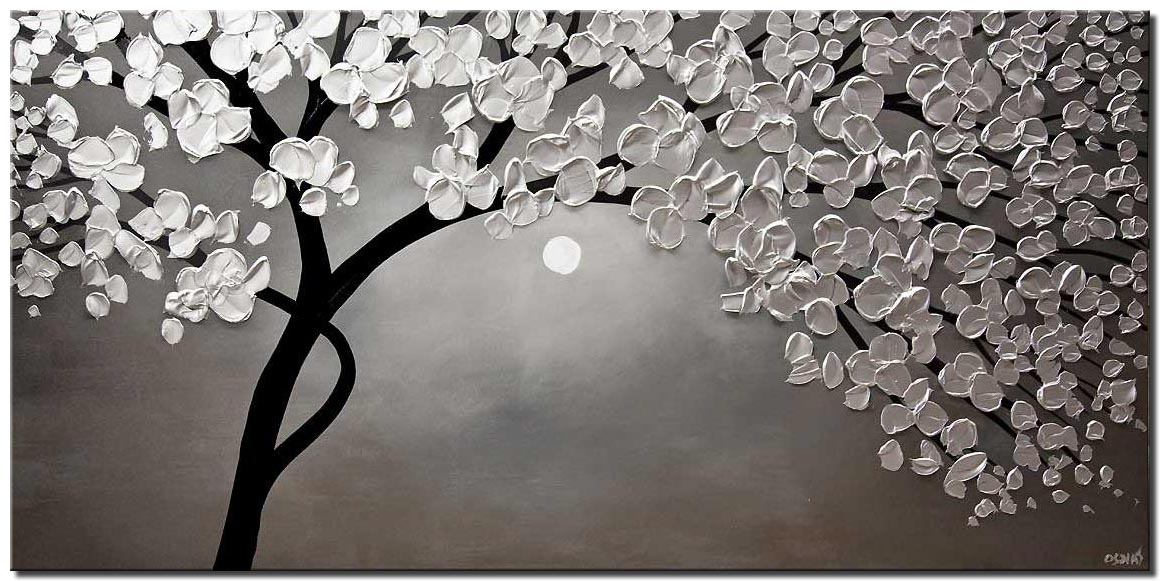 silver blooming tree painting