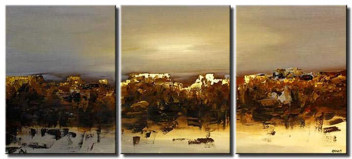 canvas print of large abstract painting triptych landscape