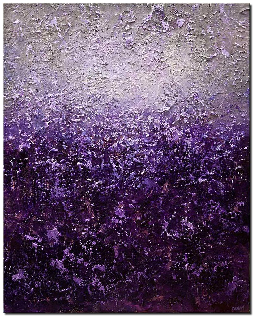 canvas print of purple gray abstract painting heavy texture acrylic modern art