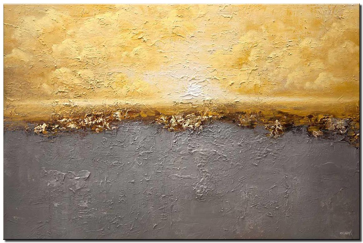 textured yellow gray modern landscape abstract painting