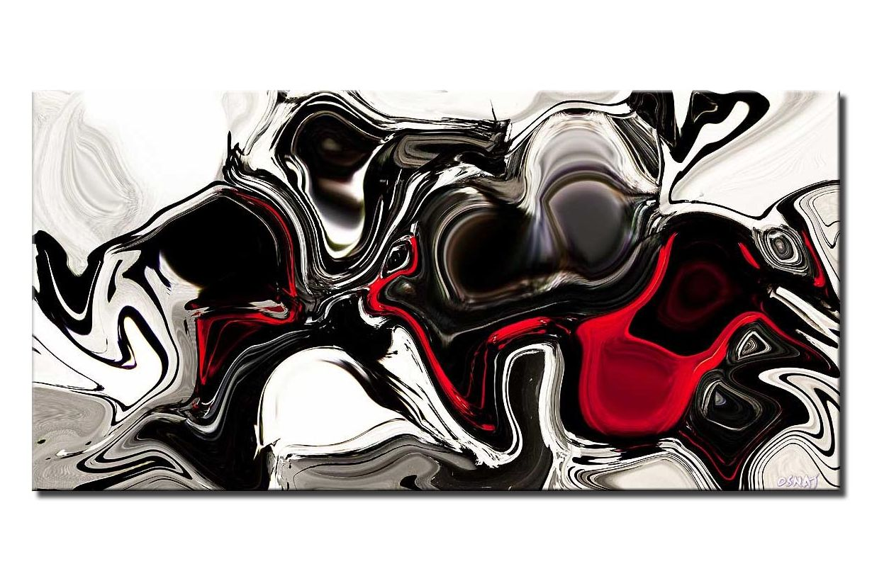 canvas print of black white red abstract print on canvas