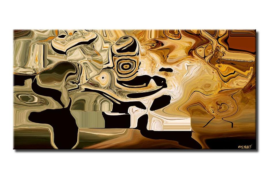 canvas print of modern abstract digital print earth tones