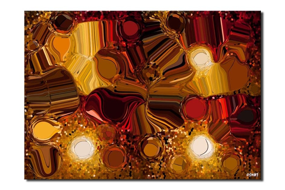 canvas print of Digital Art Giclee Print Red brown yellow