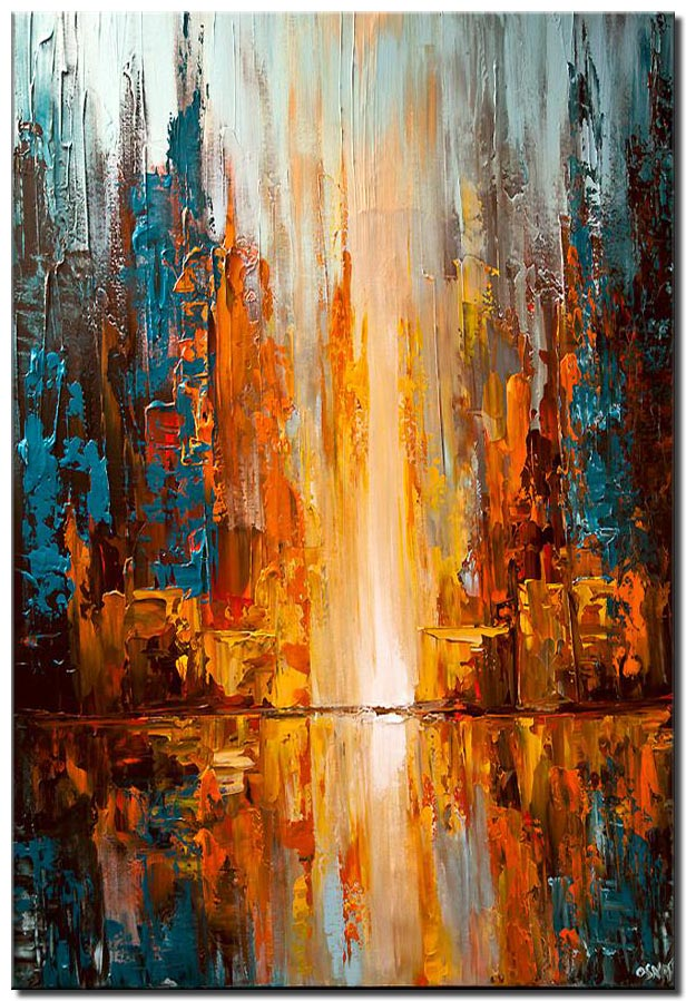 canvas print of colorful city lights abstract painting palette knife