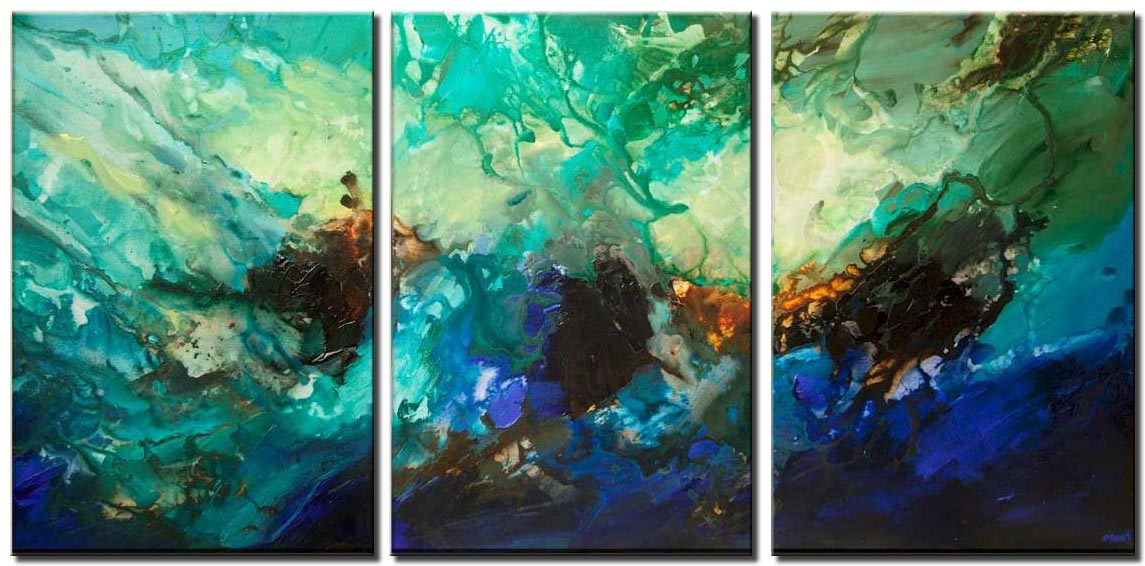 canvas print of Big turquoise abstract art