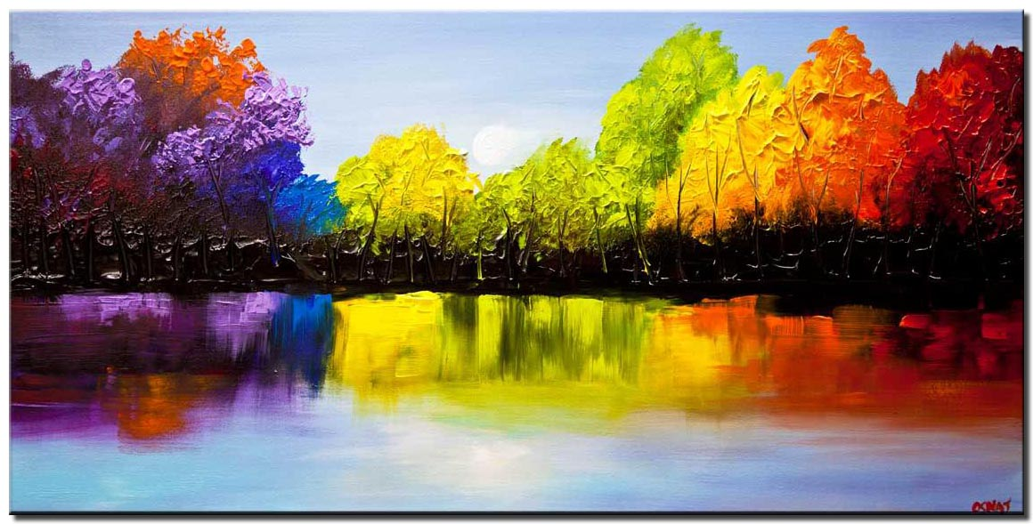 canvas print of textured colorful landscape painting
