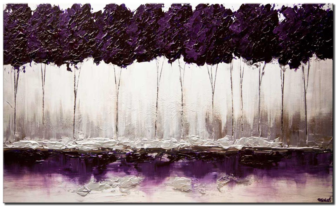 canvas print of modern purple blooming trees textured landscape painting