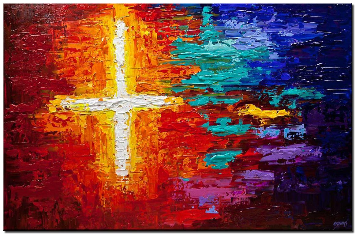canvas print of colorful textured cross art